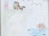 Zeichnung Steilküste mit Leuchtturm, Pferdekutsche, Segelboot auf dem Meer, Möwen am leicht bewölkten Himmel