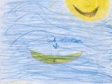 Zeichnung Sonne, Meer und Boot aus Ferienwohnung Sonne