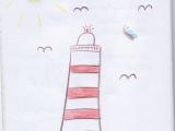 Zeichnung Leuchtturm mit Möwen aus Ferienwohnung Sonne
